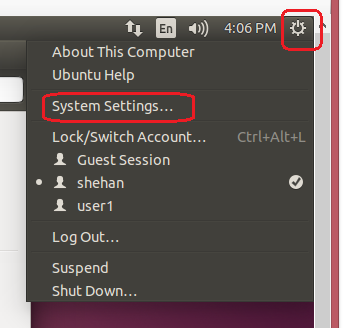 system settings - Ubuntu