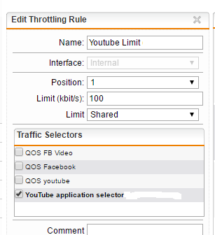 Add YouTube throttling rule