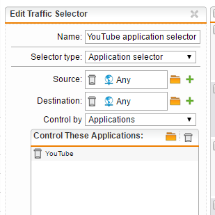 YouTube traffic selector