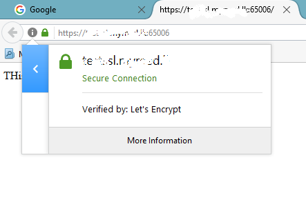 Letsencypt SSL for non standard port
